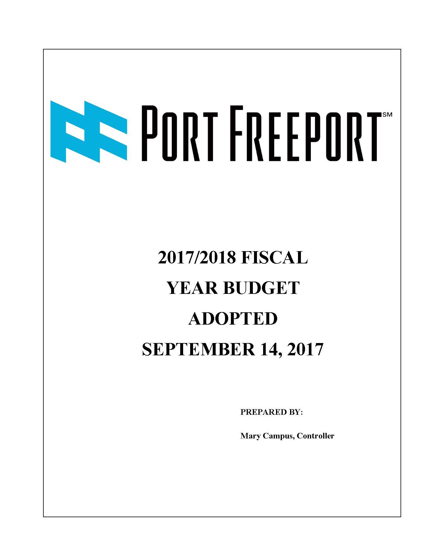 2017-2018 Port Freeport Budget