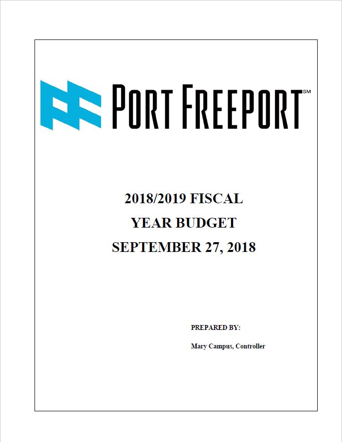 2018-2019 Port Freeport Budget