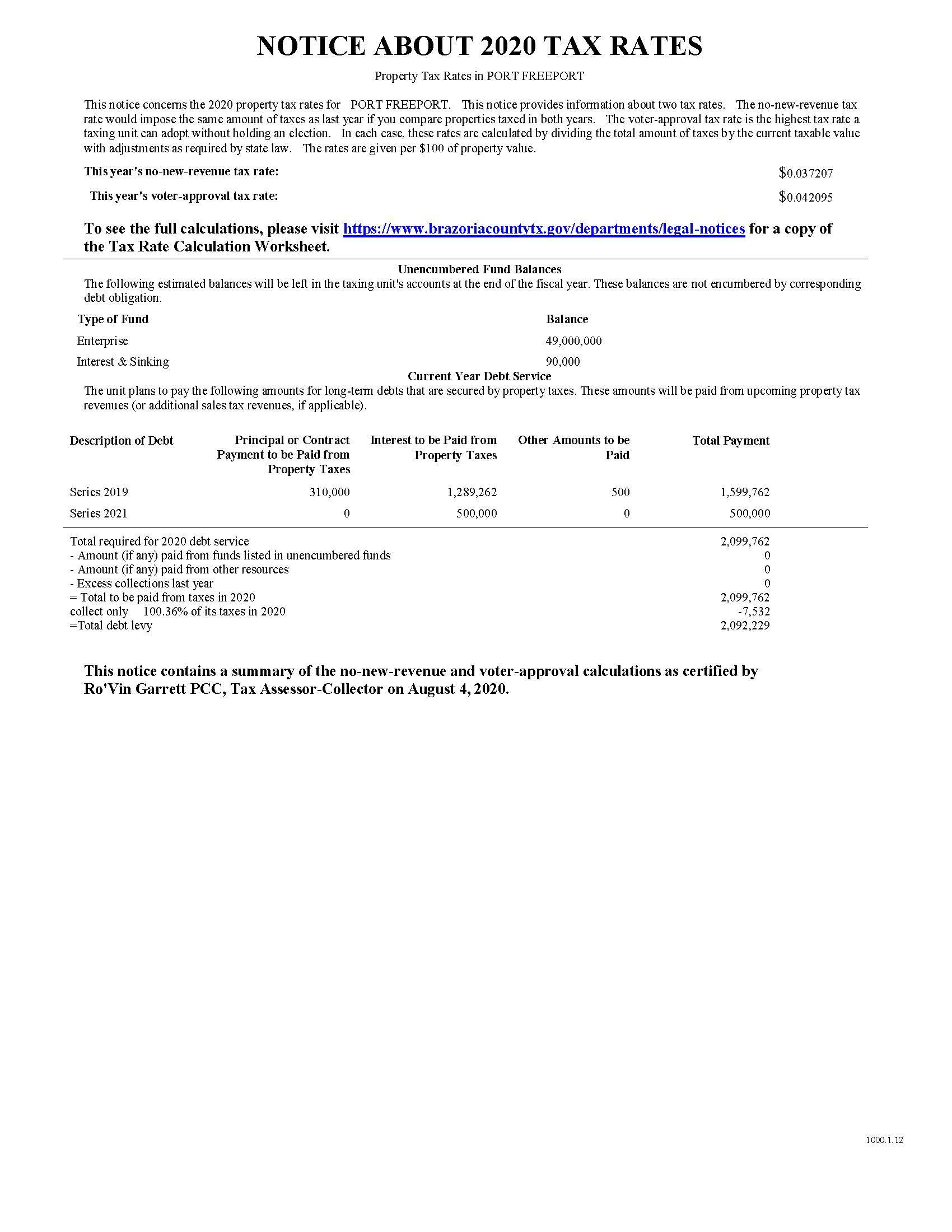 Port Freeport Notice of Tax Rates