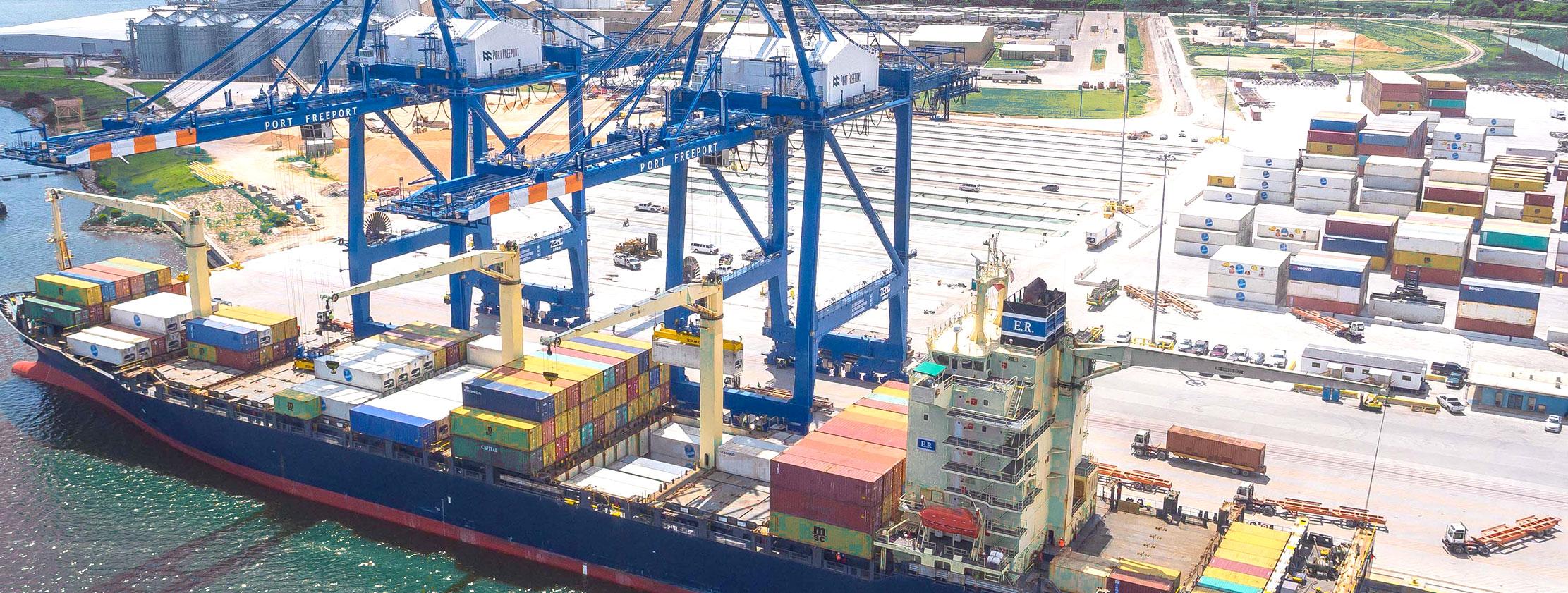 container cargo port freeport